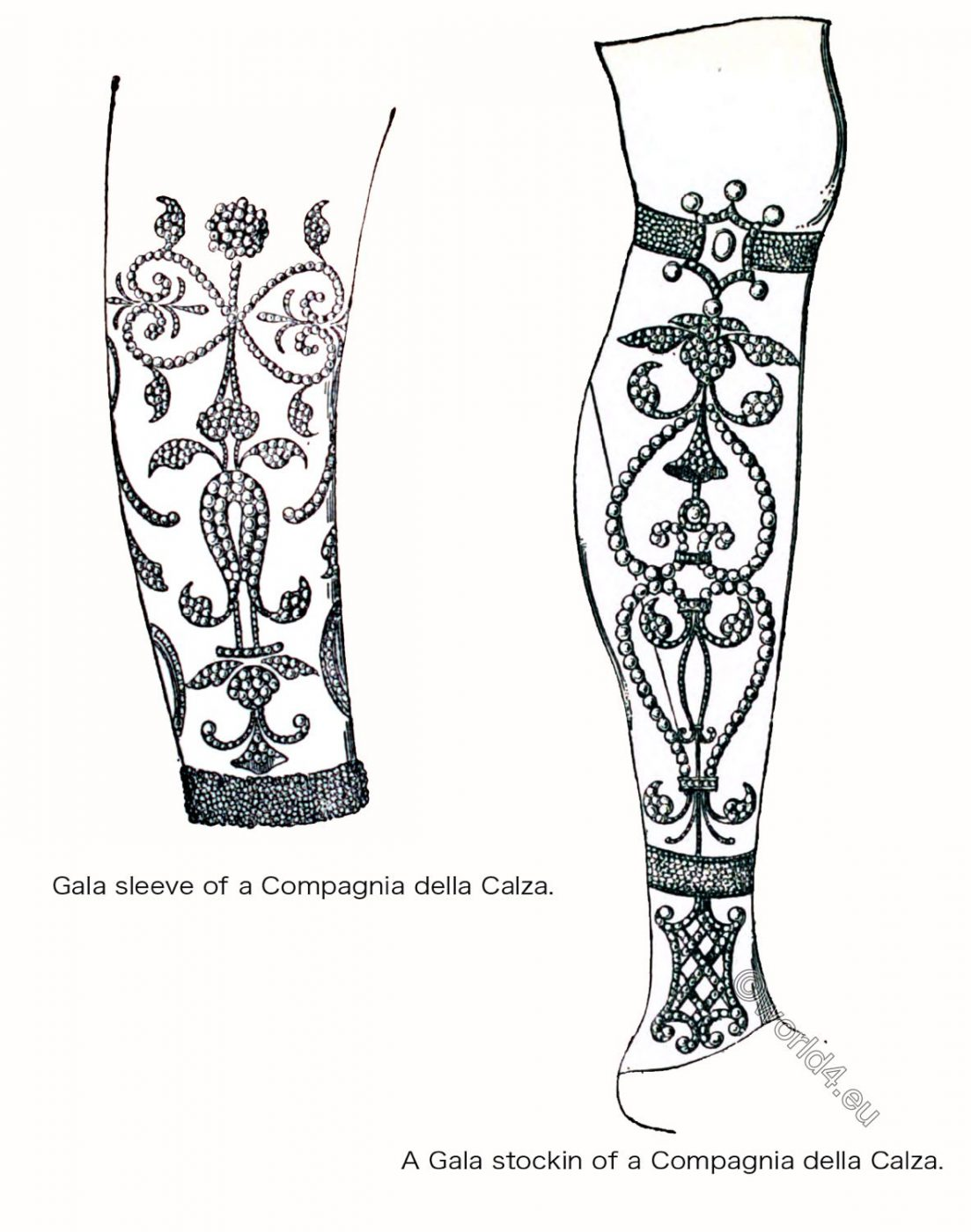 calza, Compagnia, compagne, renaissance, Venice, stocking, sleeve, fashion costume