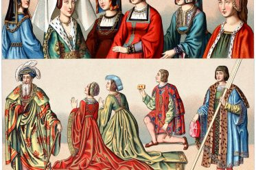 Auguste Racinet, French, bourgeois, clothing, fashion, costumes, renaissance, middle ages,