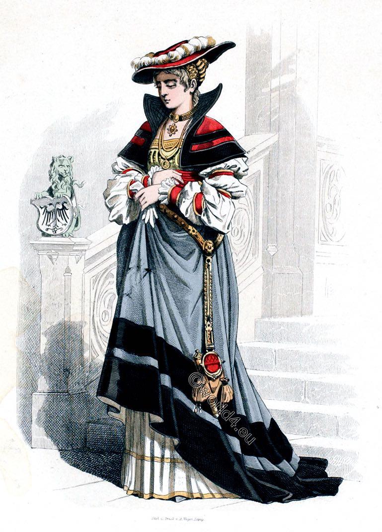 Renaissance, beret, camelot, partlet, German, costume, Noblewoman, fashion