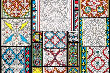 Auguste Racinet, Ornament, Stained glass, church windows, grisaille, window roses, middle ages, cathedrals, cathedral, middle ages,
