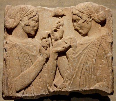 Relief, Pharsalus, Ancient, Greek, women, dress, peplos, kekryphalos
