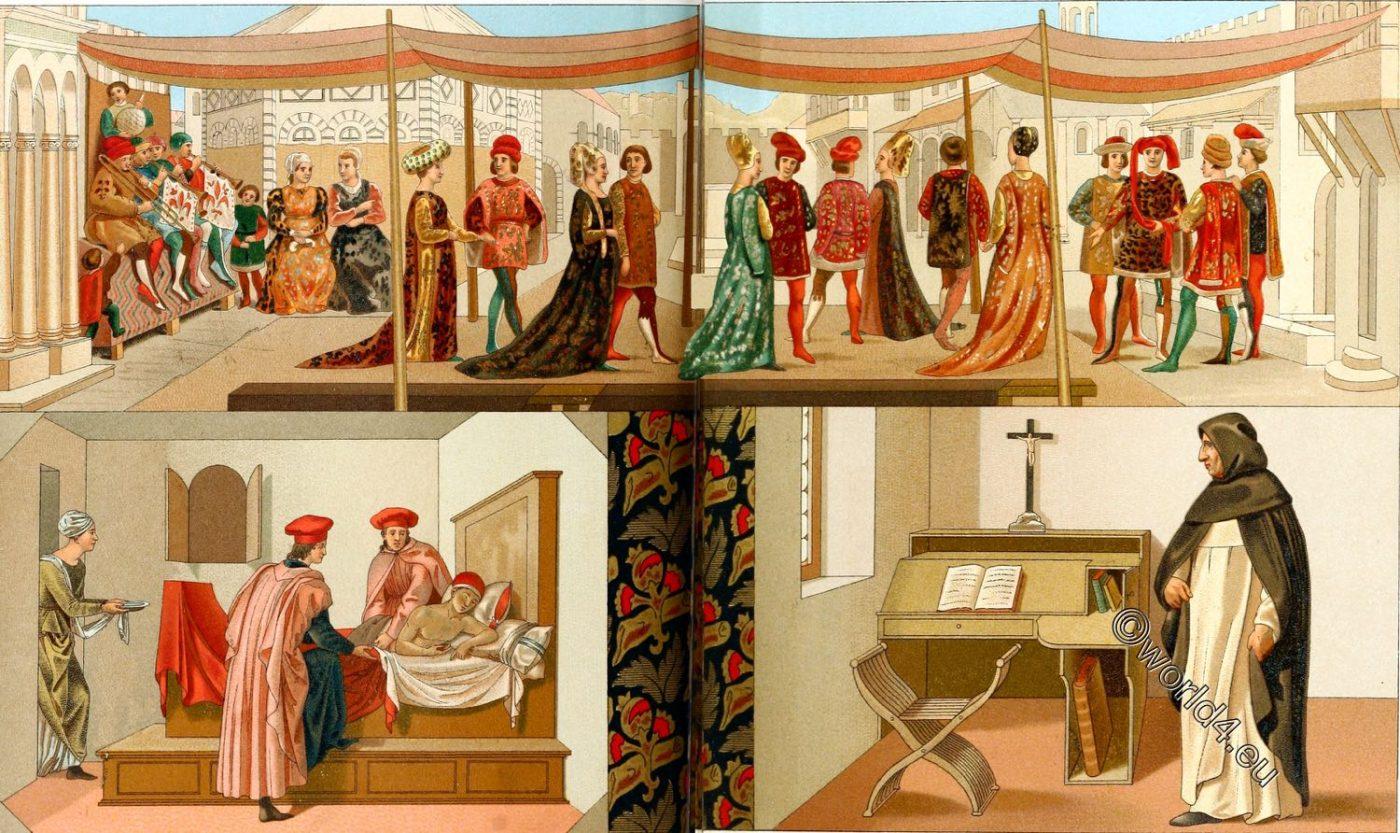 Italy, Bourgeois, ecclesiastical, costumes, Italian, Renaissance, fashion,Modes, Italiennes, Boccaccio