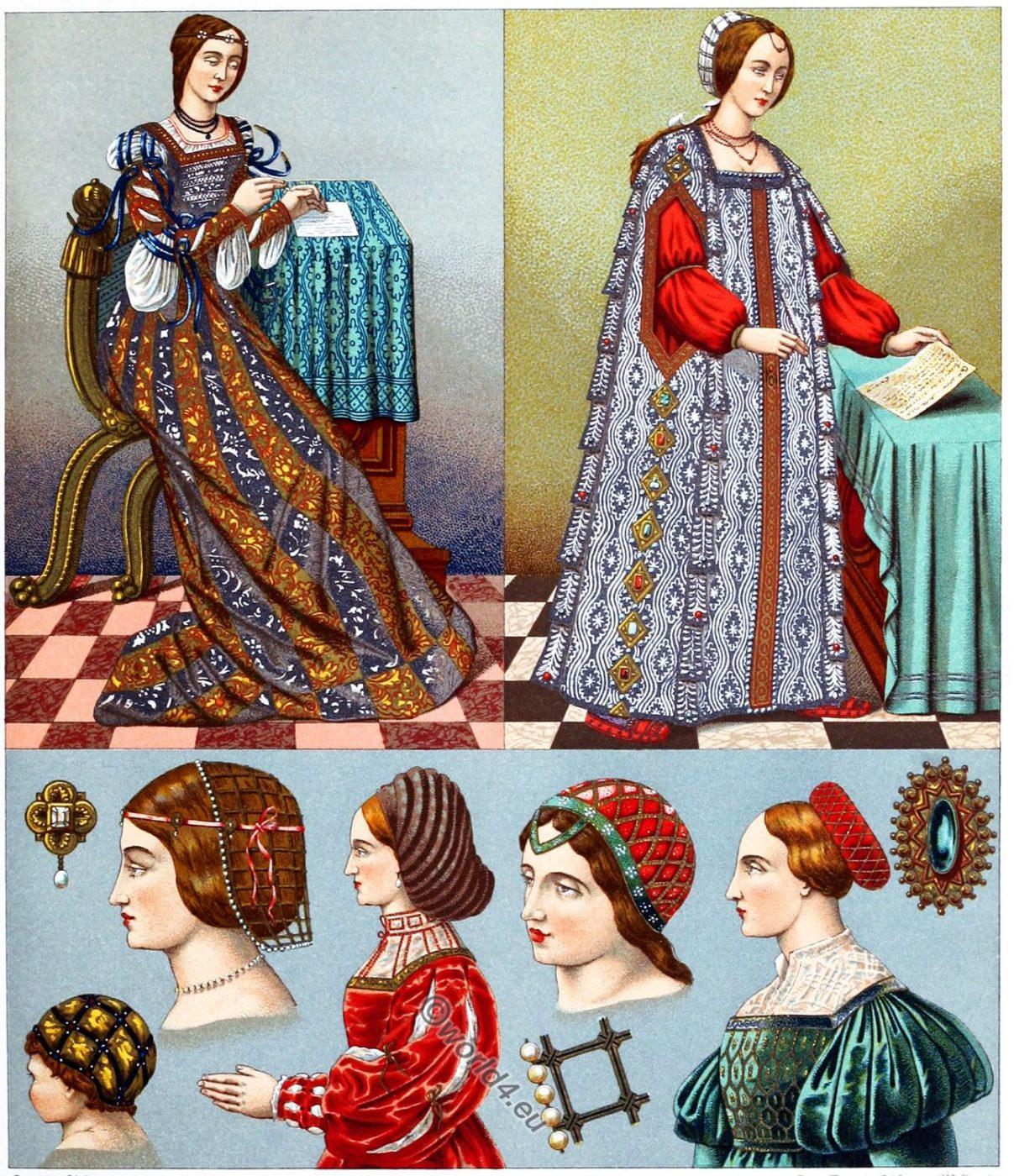 Female costumes, Renaissance, Italy, 16th century, clothing, dress, headgear, Auguste Racinet,