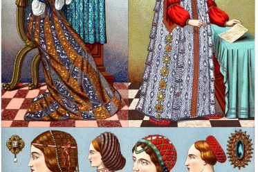 Female costumes, Renaissance, Italy, 16th century, clothing, dress, headgear, Auguste Racinet,