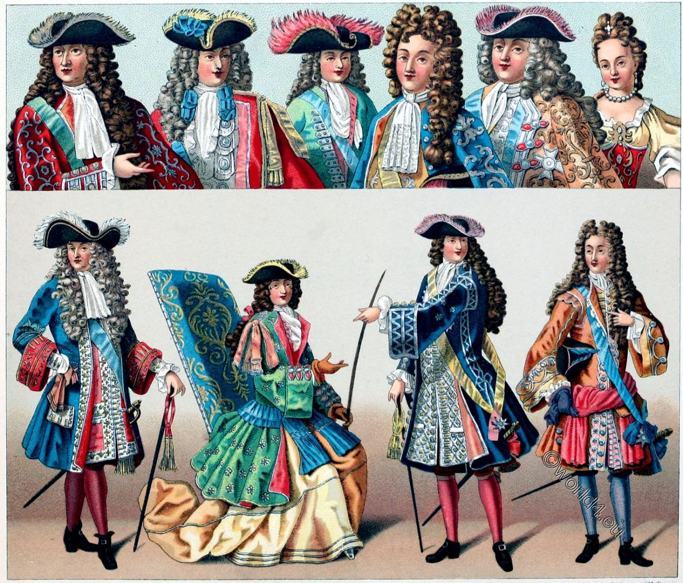 Louis XIV, Fashion, nobility, Versailles, Wigs, baroque, France, clothing, costumes