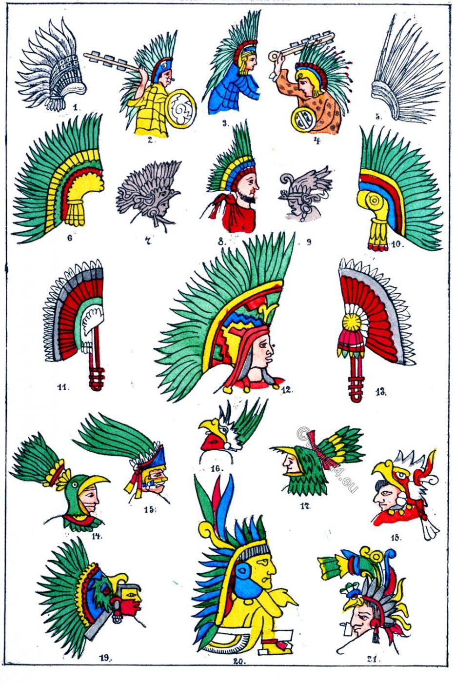 Mexican, Head-dress, feather, head-dresses, Illustrations, war-costume,