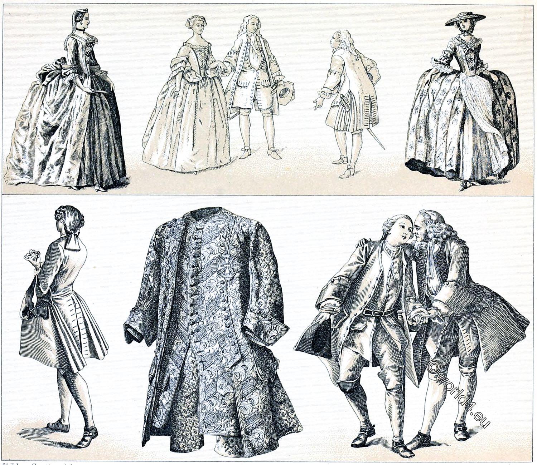 Rococo, Panniers, Justaucorps, Hoop, skirt, fashion, costumes, Auguste Racinet
