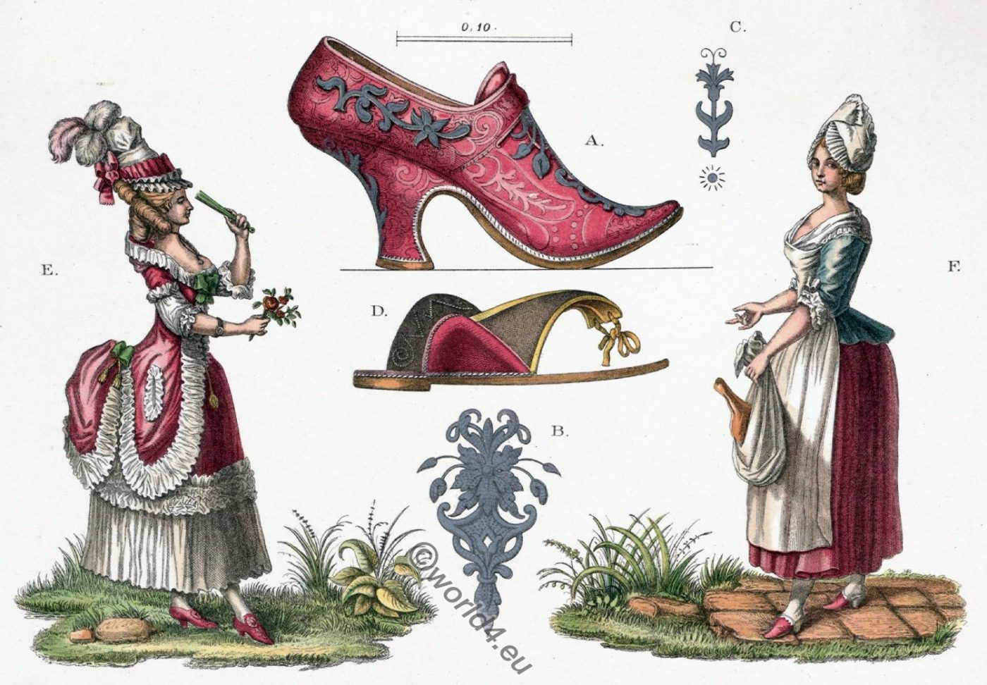 Female, costumes, Shoe fashion, rococo, costumes, high heels
