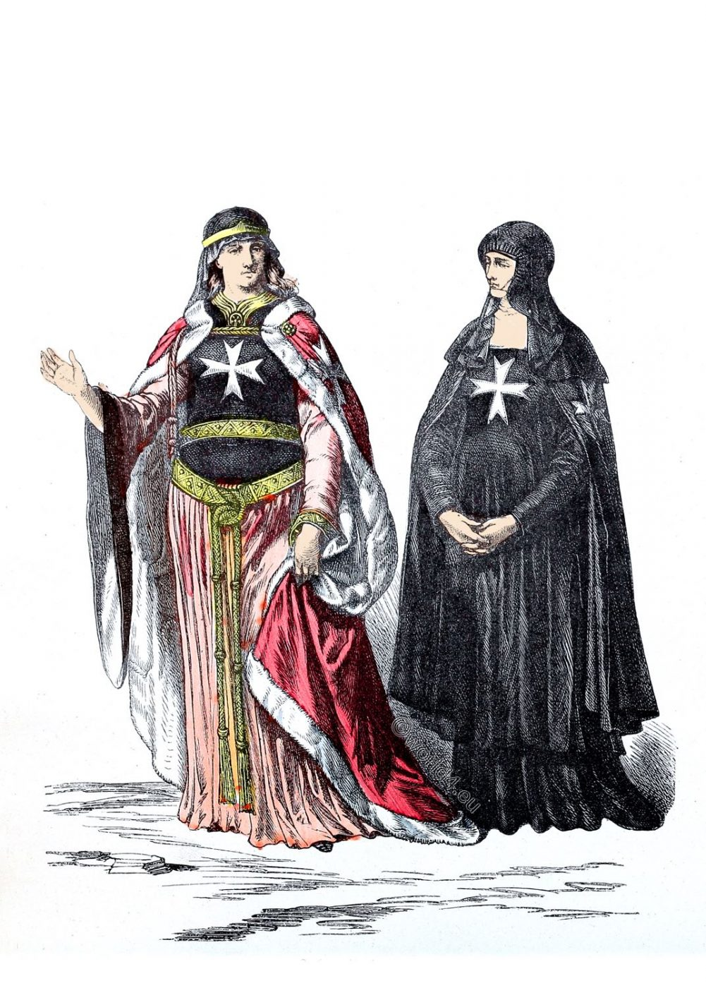 Nuns, hospitaller, costume, habit, Order, St John, Malta, 11th century, Crusade, Middle ages,