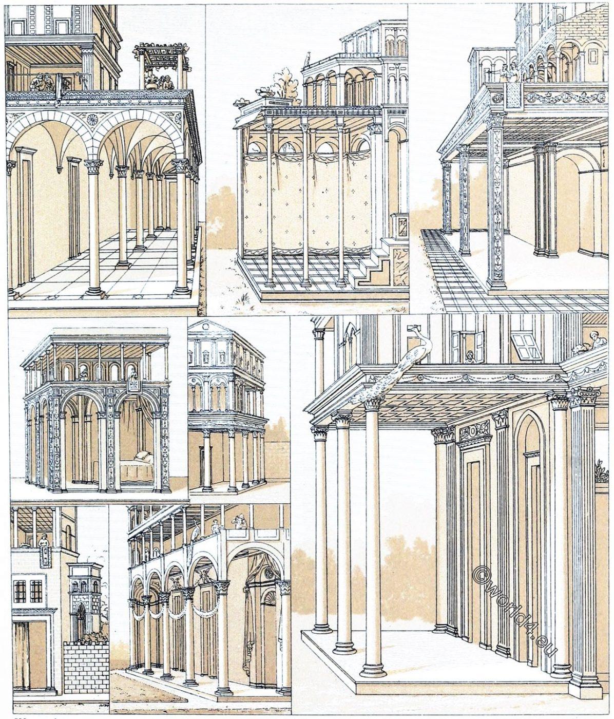 Renaissance, Architecture, Italy, Tuscany, portico, loggia, pilasters