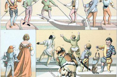 Medieval, Venice, gondoliers, costumes, Renaissance, Dwarves, jesters, pages, messengers, fashion, clothing, dresses