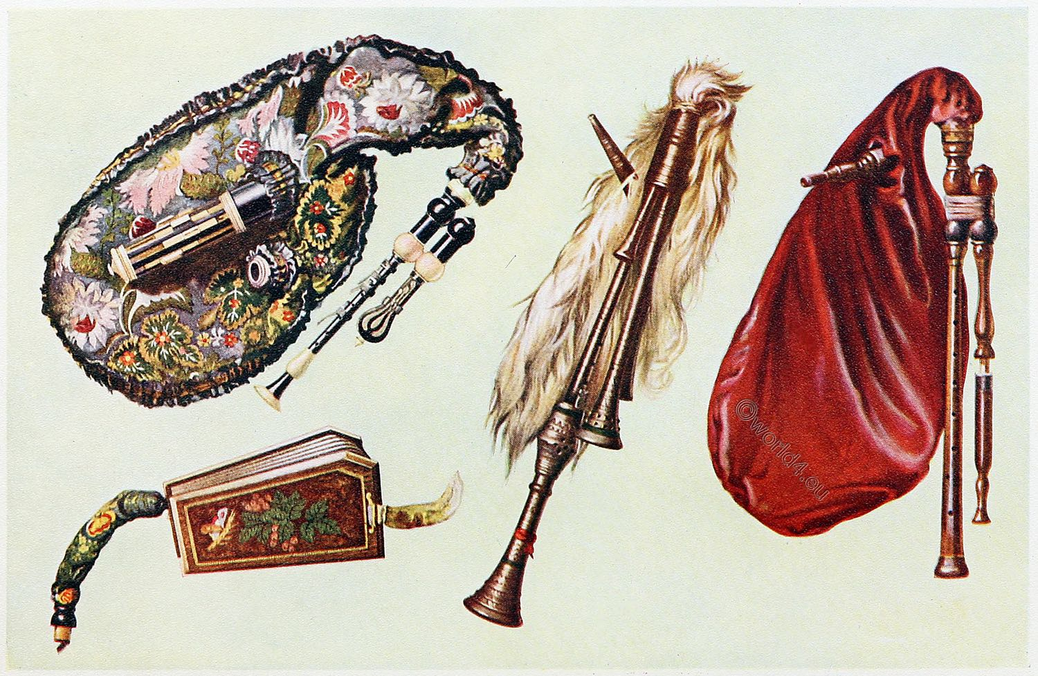 Musical, instruments, Cornemuse, Bagpipes, Musette, Zampogna,
