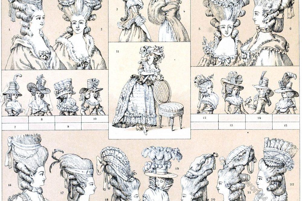 France, Déshabillés, Hairstyles, Hats, caps, Rococo, 18th century, Racinet,