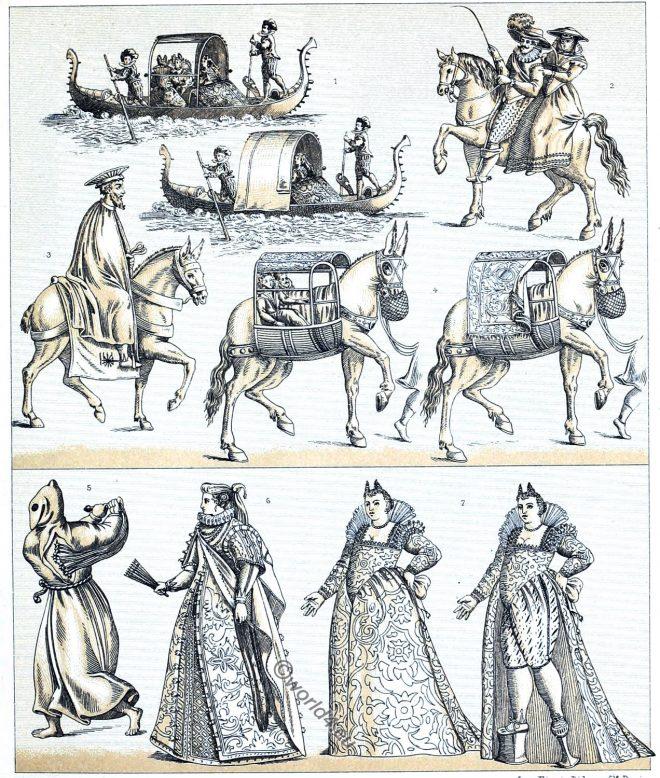 Venetian, costumes, Renaissance, courtesan, Transportation, Gondolas,