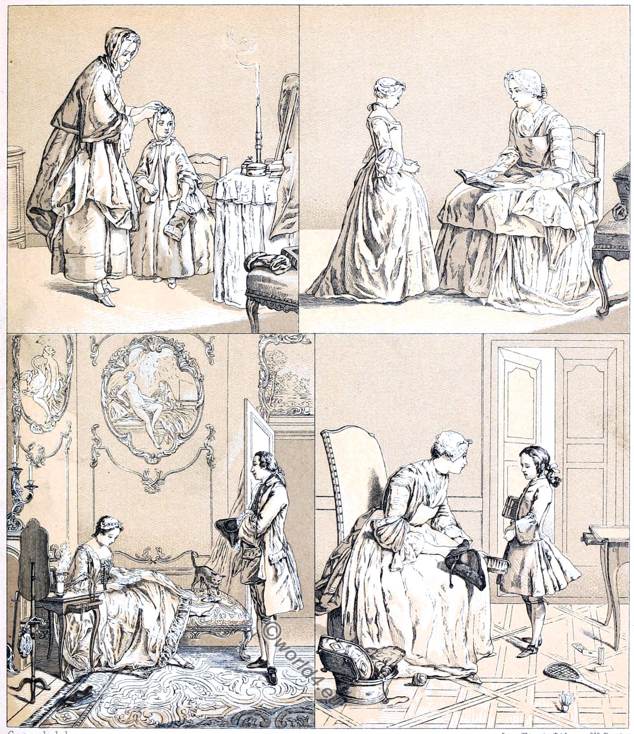 Bourgeois, France, rococo, middle classes, costumes, Racinet, 18th century,