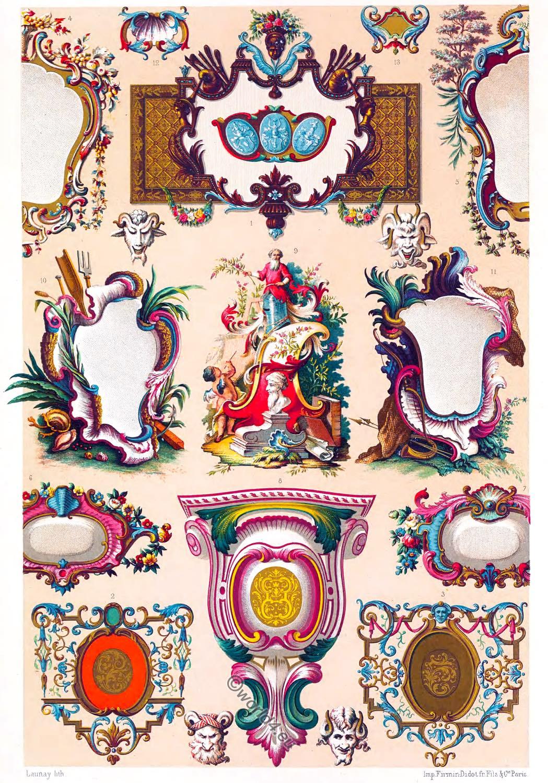 Auguste Racinet, Cartouches, Camaieu, decoration, Ornaments, Rococo, 18th century