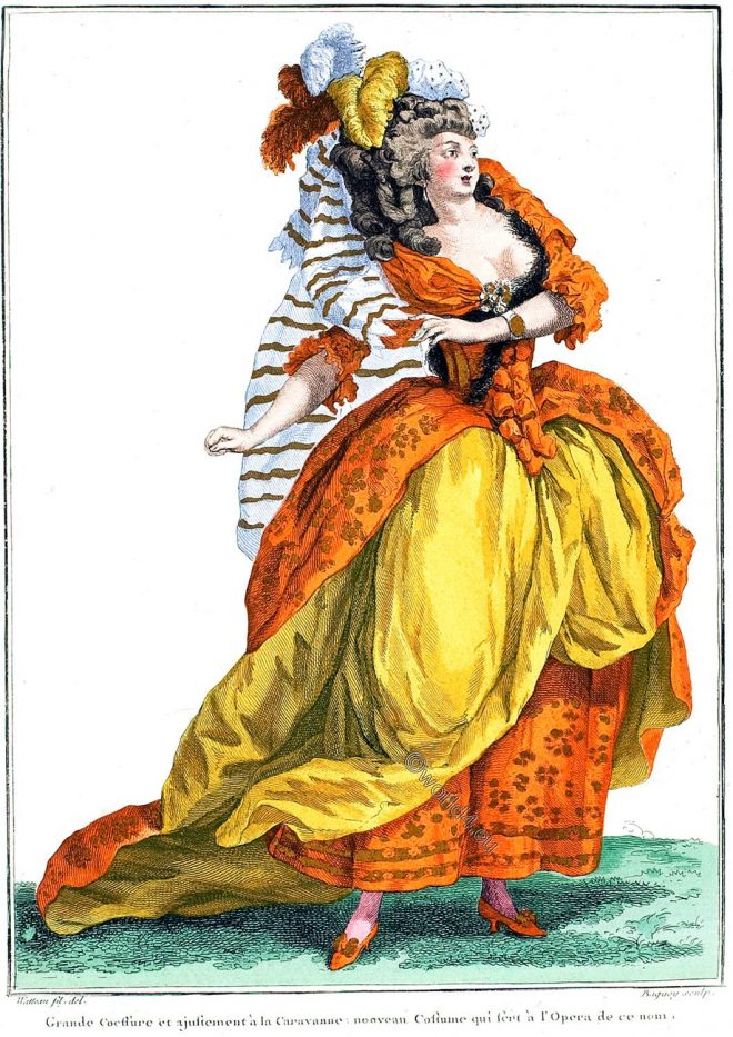 coeffure, Caravanne, Costume, Opera, Rococo, France, fashion,