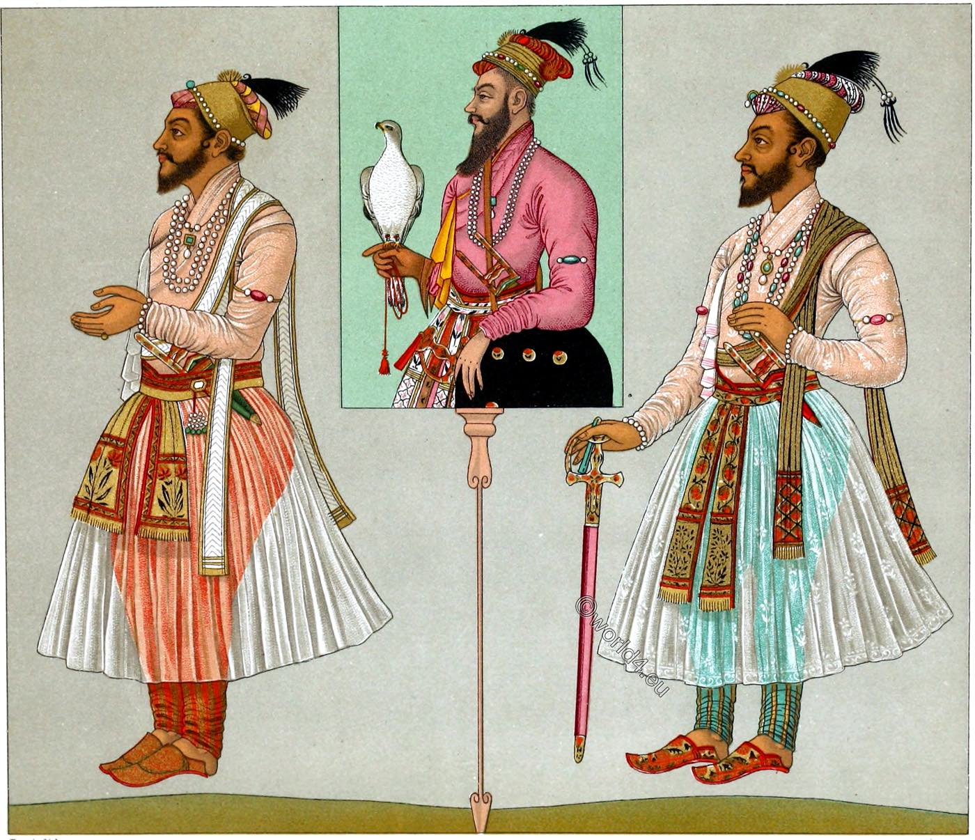 Grand Moguls, India, Emperor, Moghul, Rajput, Prince, Dresses, clothing