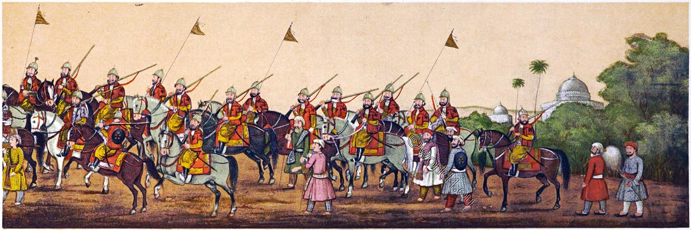 India, horsemen, Mughal Empire, Emperor Akbar Shah II, Procession, court,
