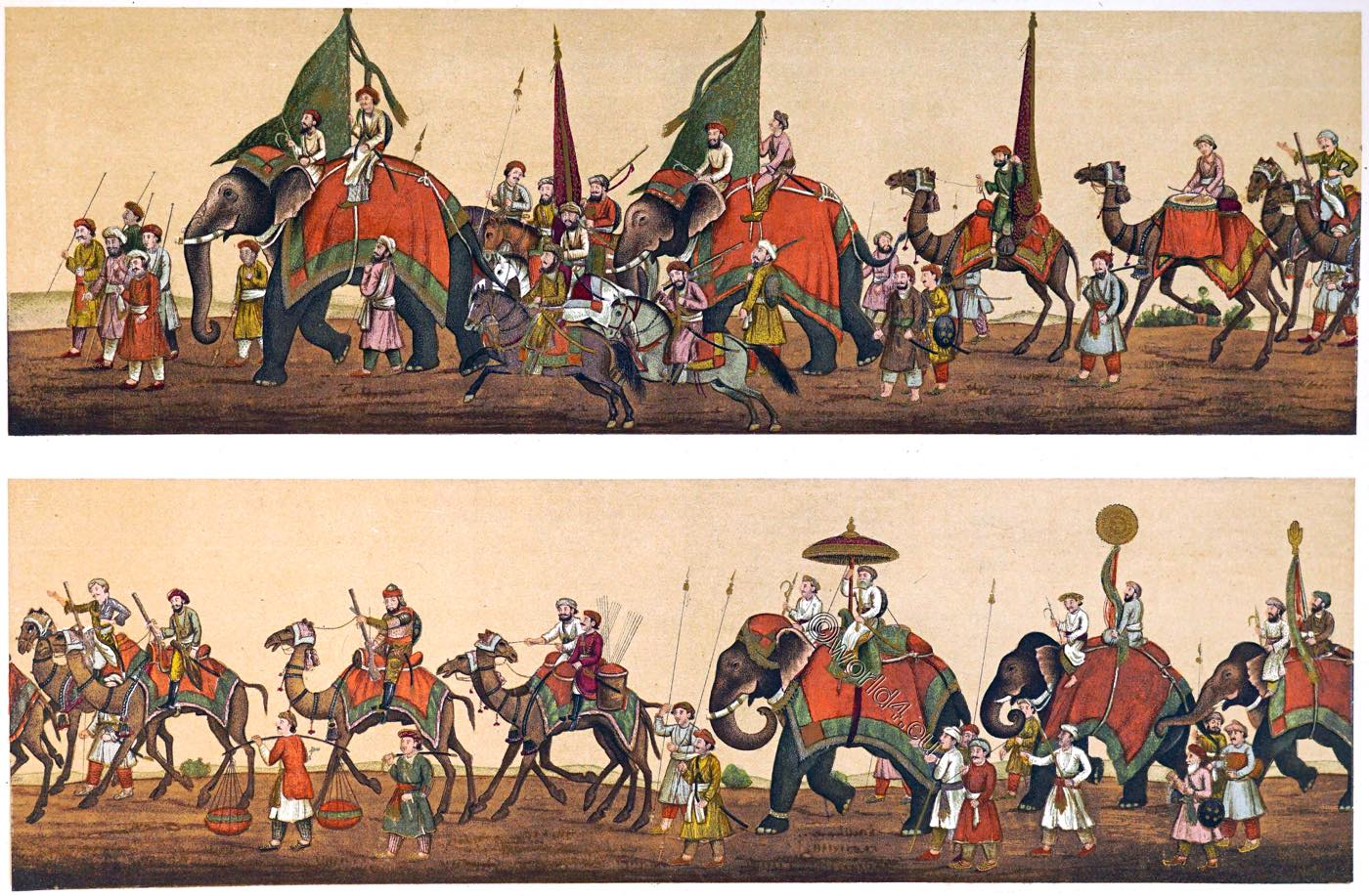 India, Mughal Empire, Procession, court,