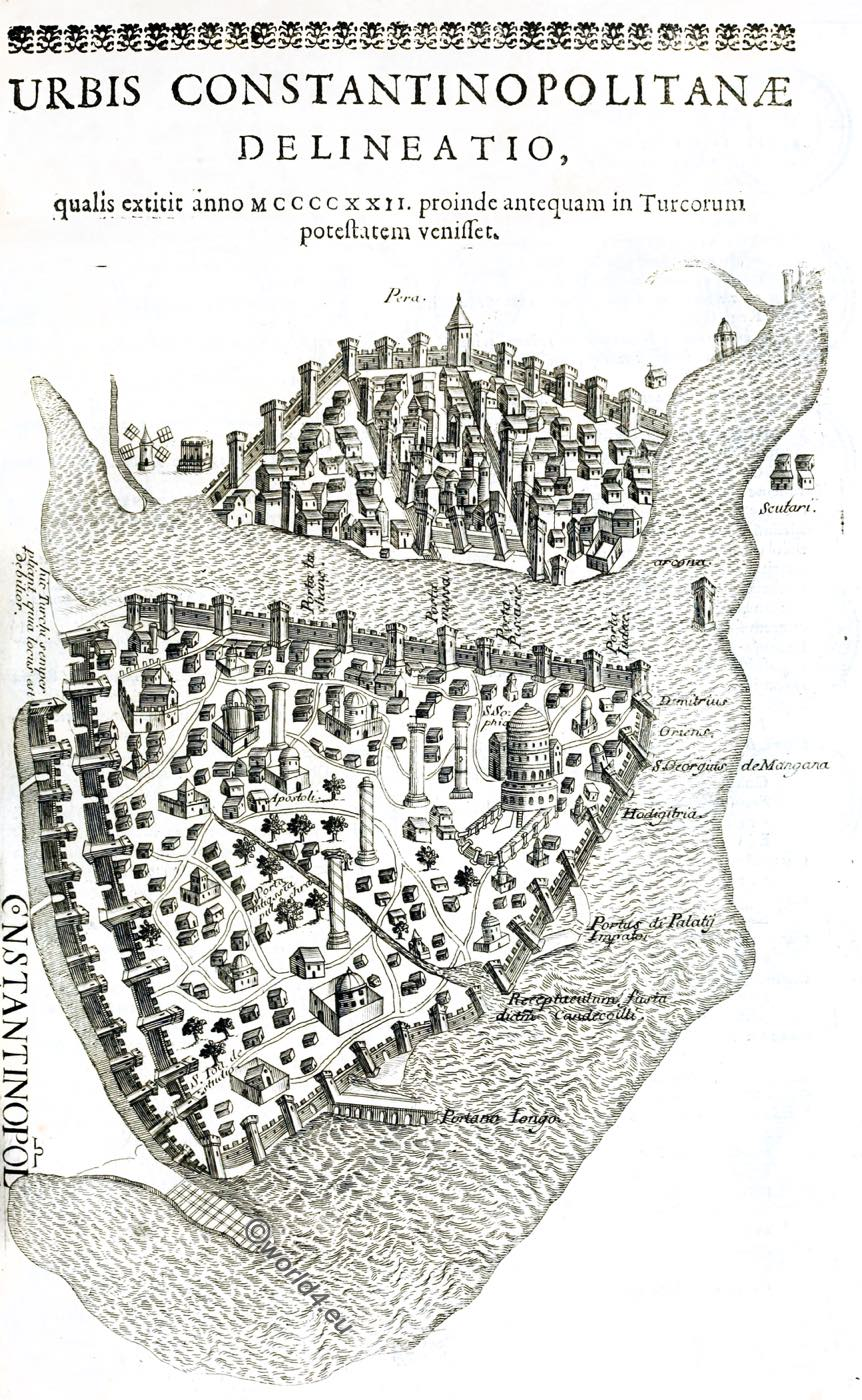 Constantinople, Bird's-eye, view, middle ages, Copper, Engraving