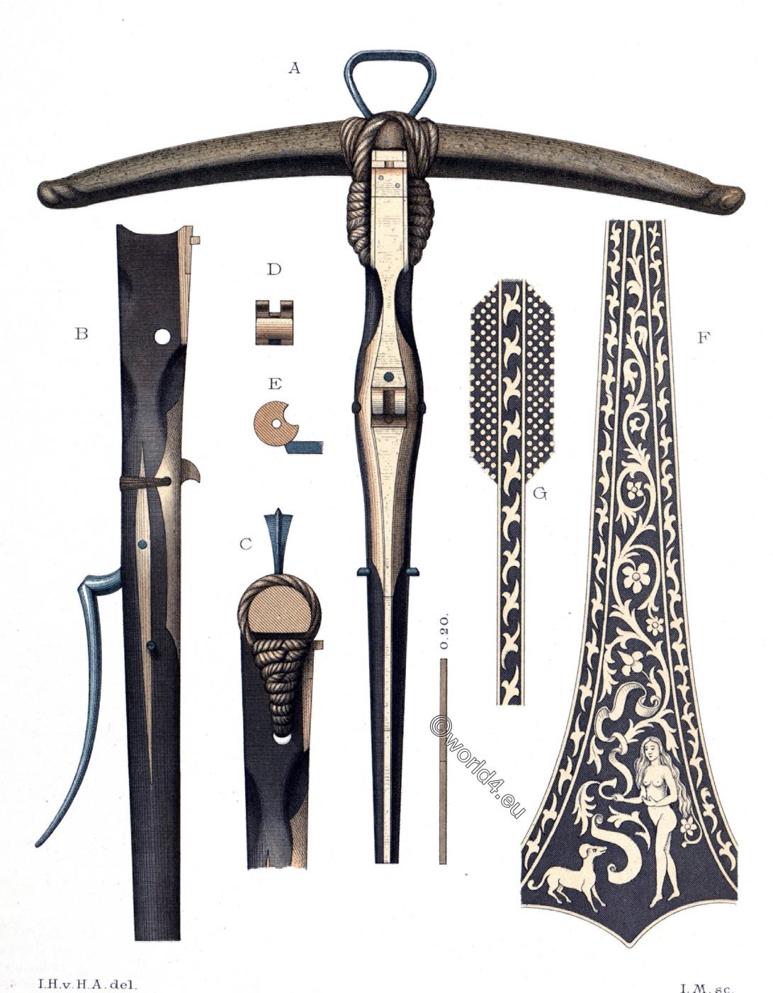 crossbow, ranged, weapon, Middle-ages, Hefner-Alteneck