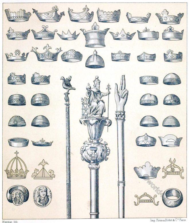 Crowns, sceptre, Clovis, Carolingian, Frankish, Merovingian, kings, Middle Ages, Auguste Racinet