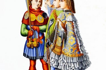 Italy, herald, squires, middle ages, costumes, fashion, Mi-Parti, poulines