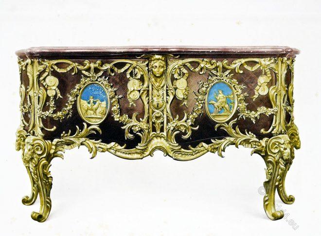 Médaillier, furniture, Louis-quinze, rocaille, Ébéniste, Gaudreau,