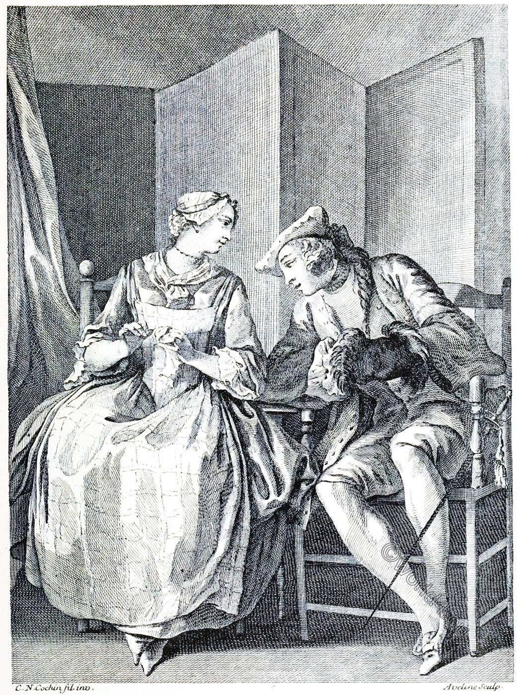 L'OUVRIÈRE, DENTELLE, Pierre Aveline, engraving, rococo
