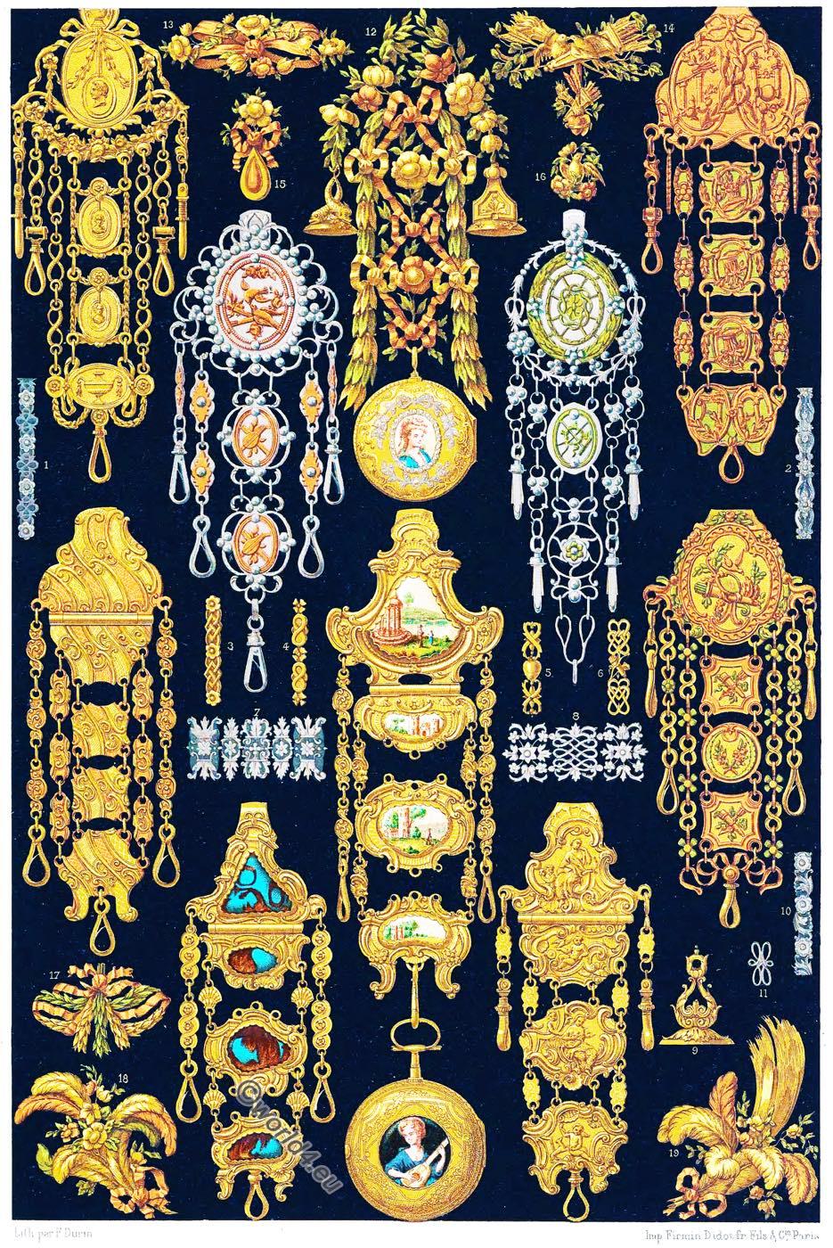 châtelaines, Rococo, Gilles L'Egaré, jewelry,  Auguste Racinet,