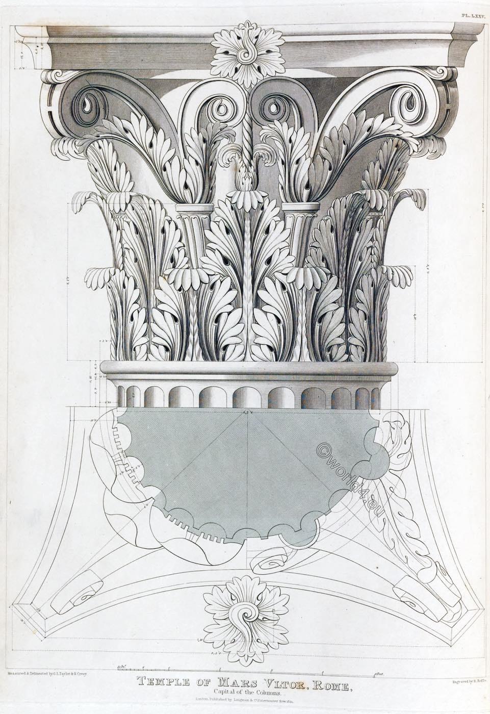 Temple, Mars, Ultor, Rome, Columns, Capital, Ornament, Decoration, Architecture, antiquities,