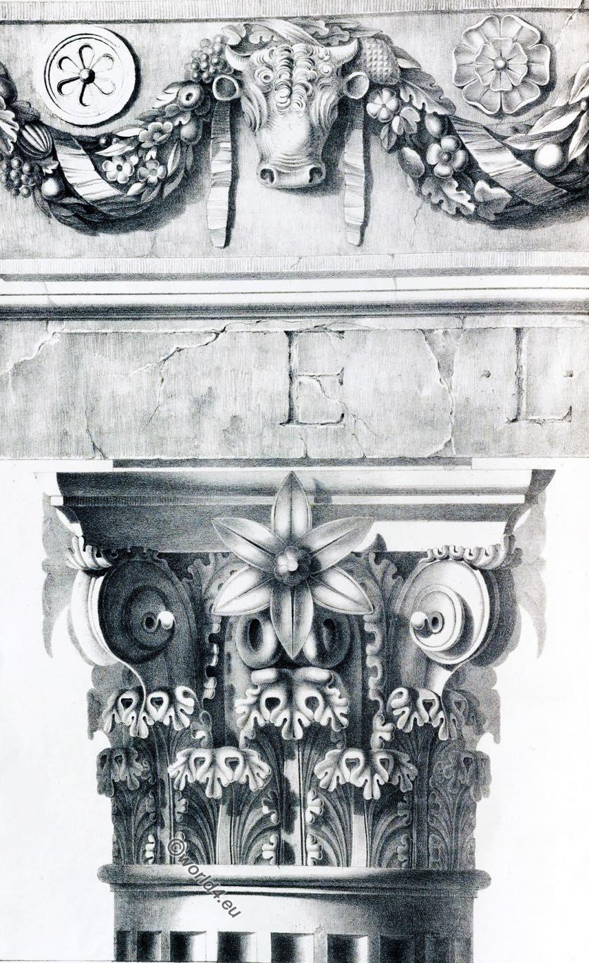 Temple, Vesta, Tivoli, Capital, Frieze, Ornament, Decoration, Architecture, antiquities, Rome
