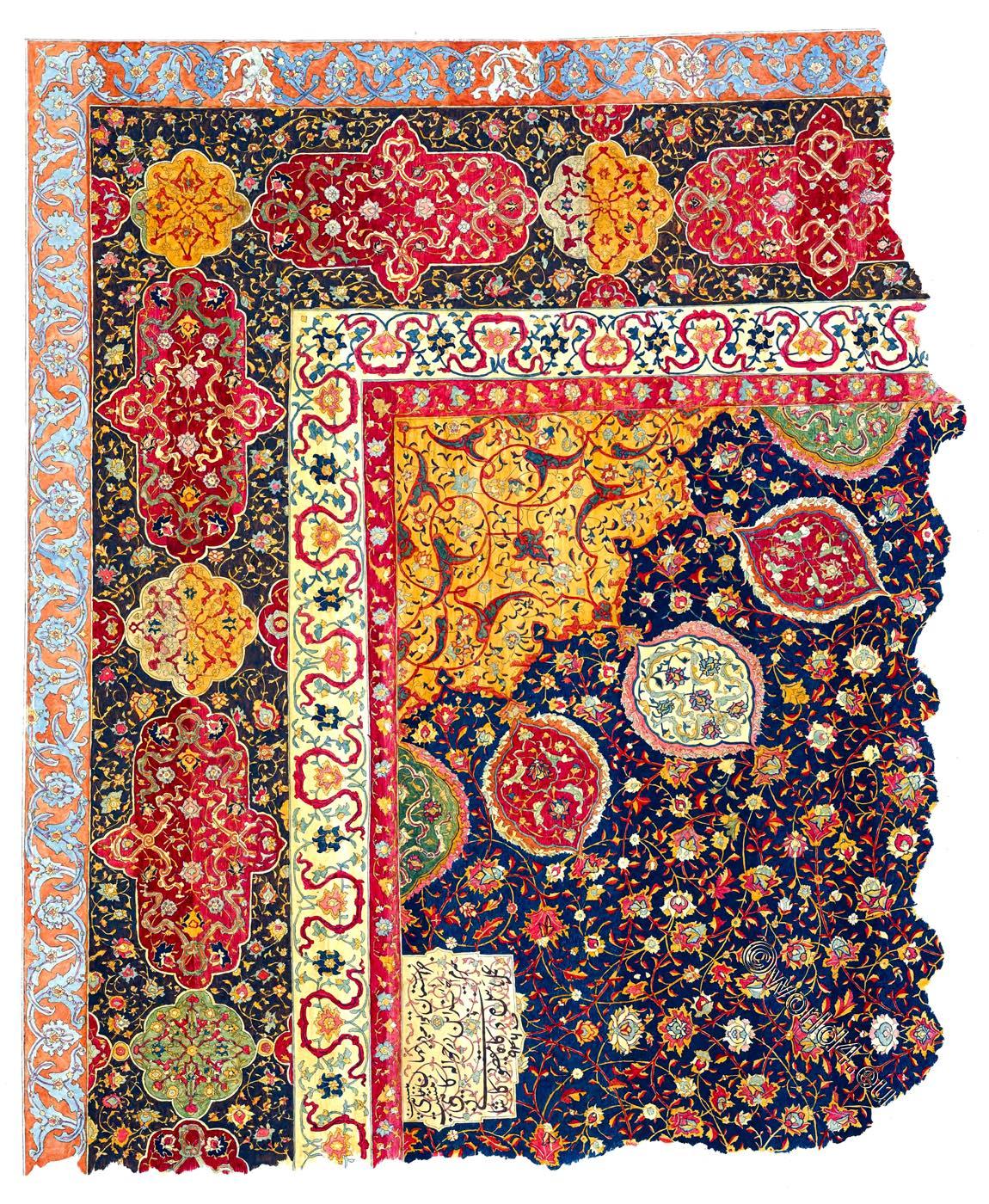 corner, Section, Ardabil, Holy, Carpet, Ardebil, Iran,