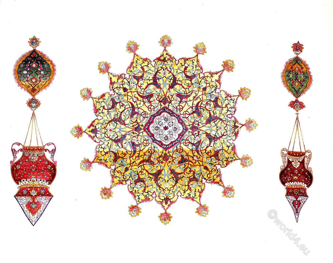 Medaillon, Lamps, Ardabil, Holy, Carpet, Ardebil, Iran,