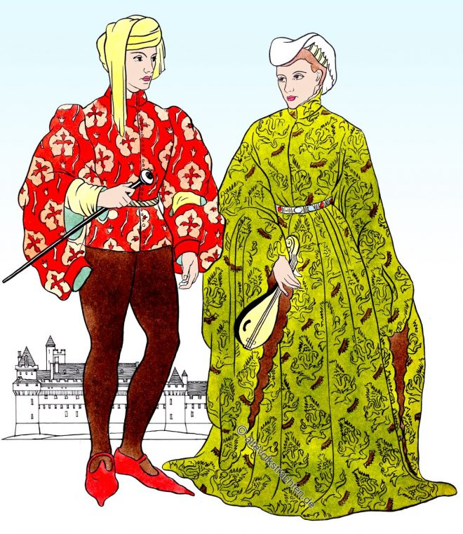 Cotehardie, houpelande, Middle Ages, Burgundy, Fashion, costumes,