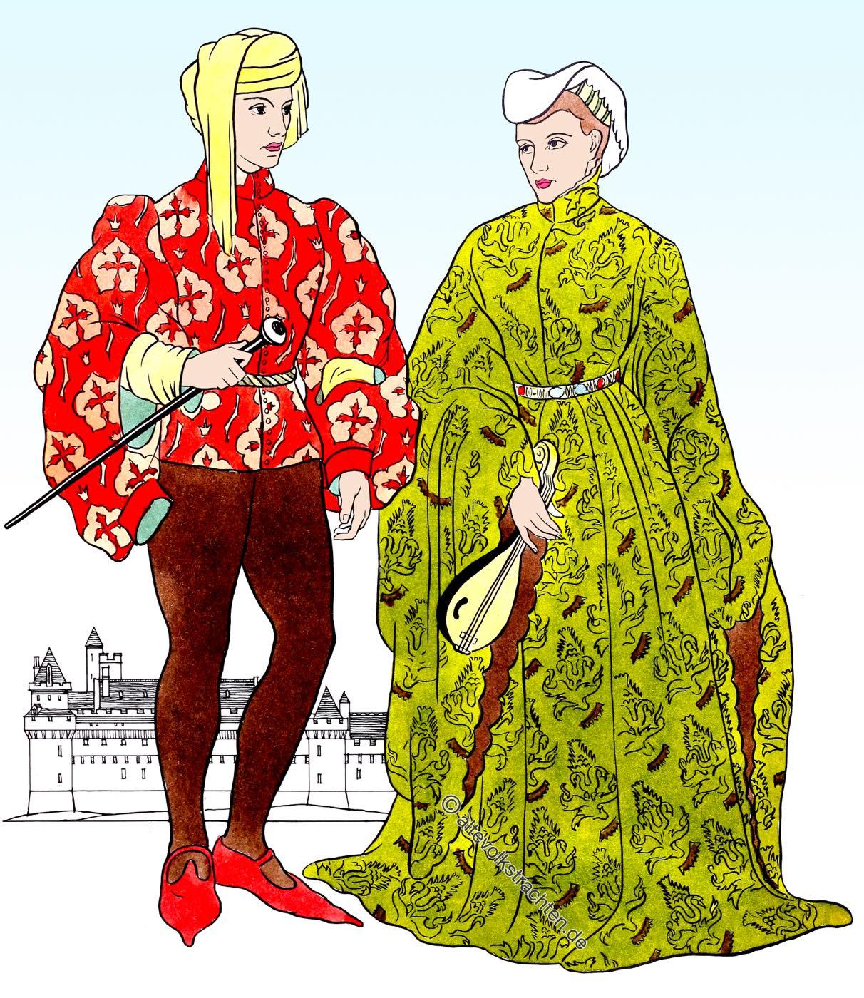 Cotehardie, houpelande, Middle Ages, Burgundy, Fashion, costumes,
