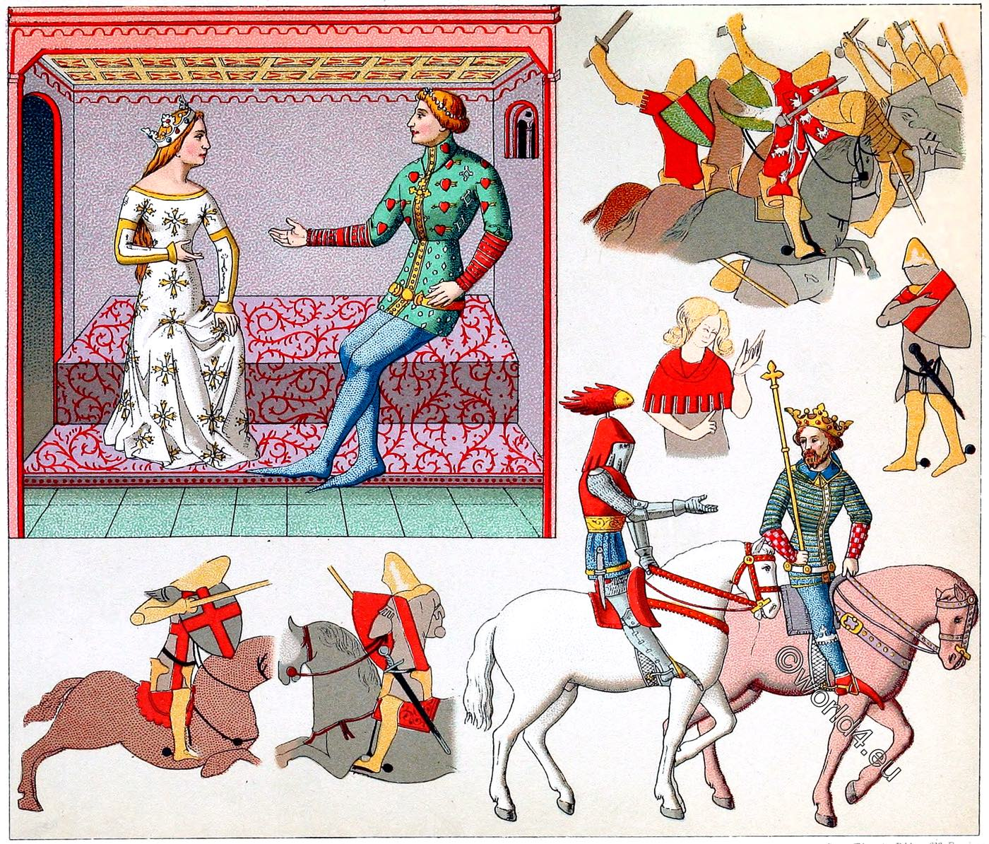 Courtly, gallantry, Auguste Racinet, Middle ages, Civil, military, costumes,