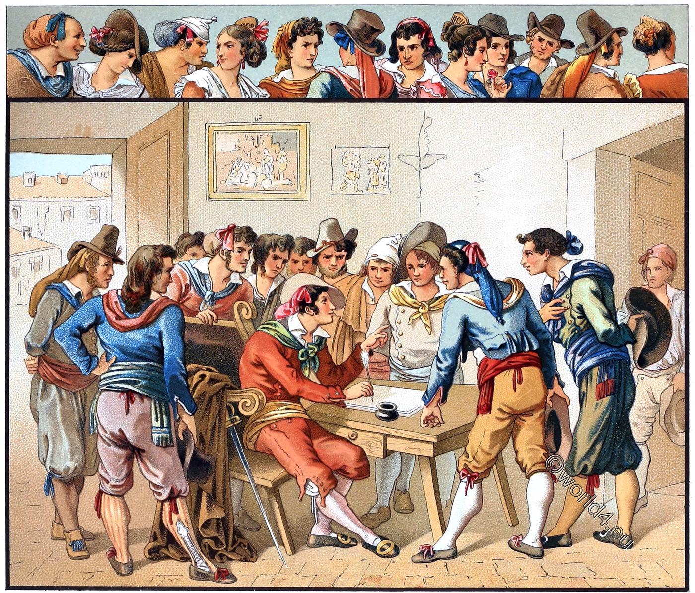 Trastevere, Italy, Roman, folk, costumes, Auguste Racinet