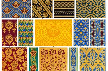 Auguste Racinet, Ornamentation, designs, hangings, Embroidery, inlaying, Middle ages,