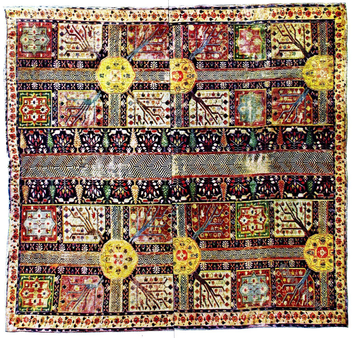 Persian, Royal, Garden, Carpet, Art, Ancient,