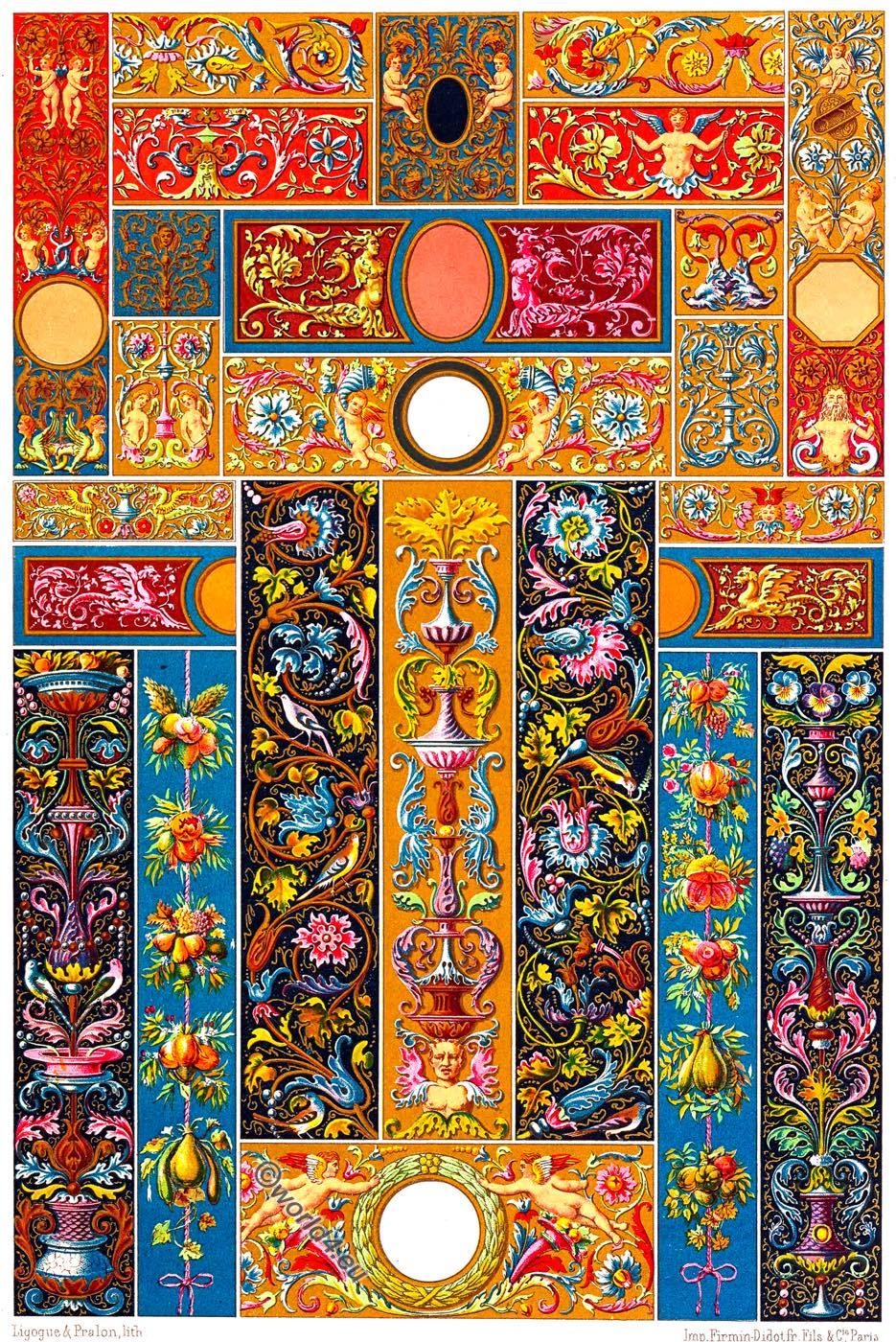 Ornaments, Auguste Racinet, Renaissance, Paintings, Frescoes,  Manuscripts