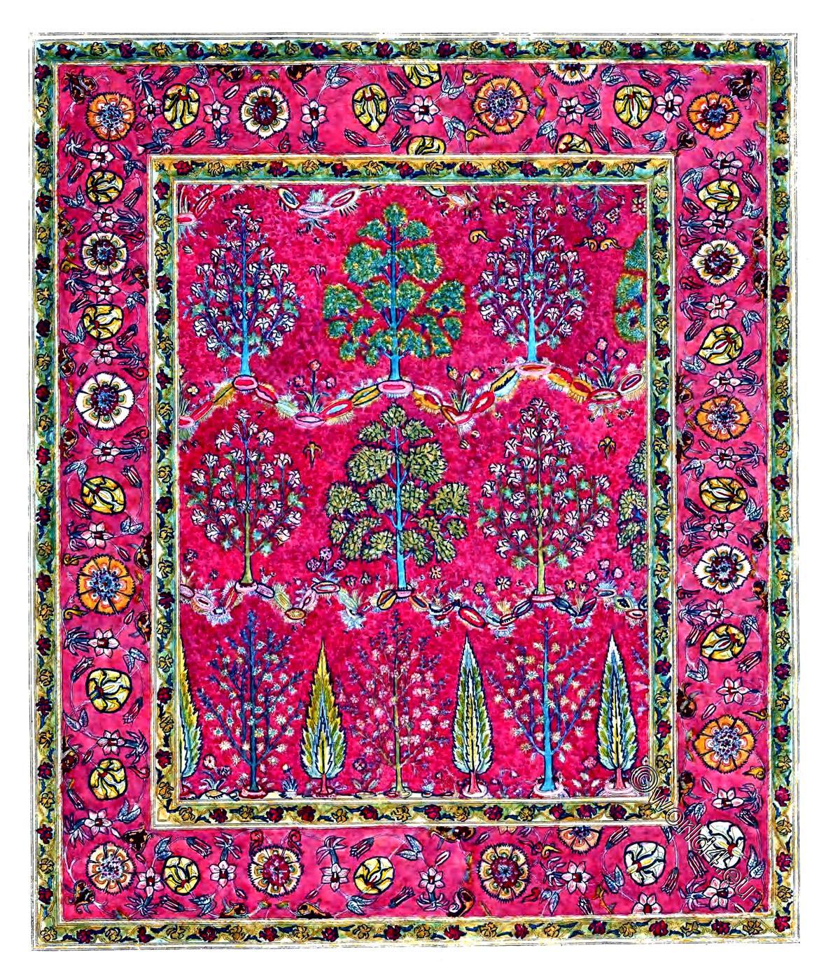 silk, carpet, 16th century, antique, persia, iran