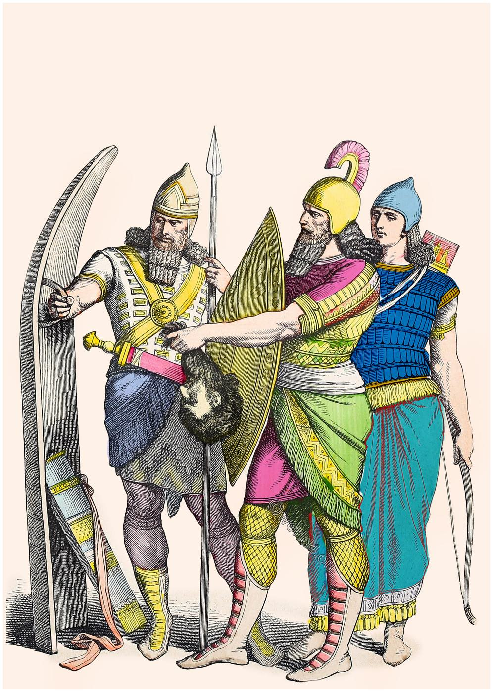 Assyrian, warriors, Asyyria, Mesopotamia, Military, ancient