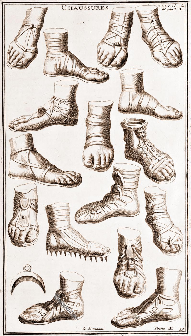 Ancient, Different, Roman, Shoes, Chaussures Romains