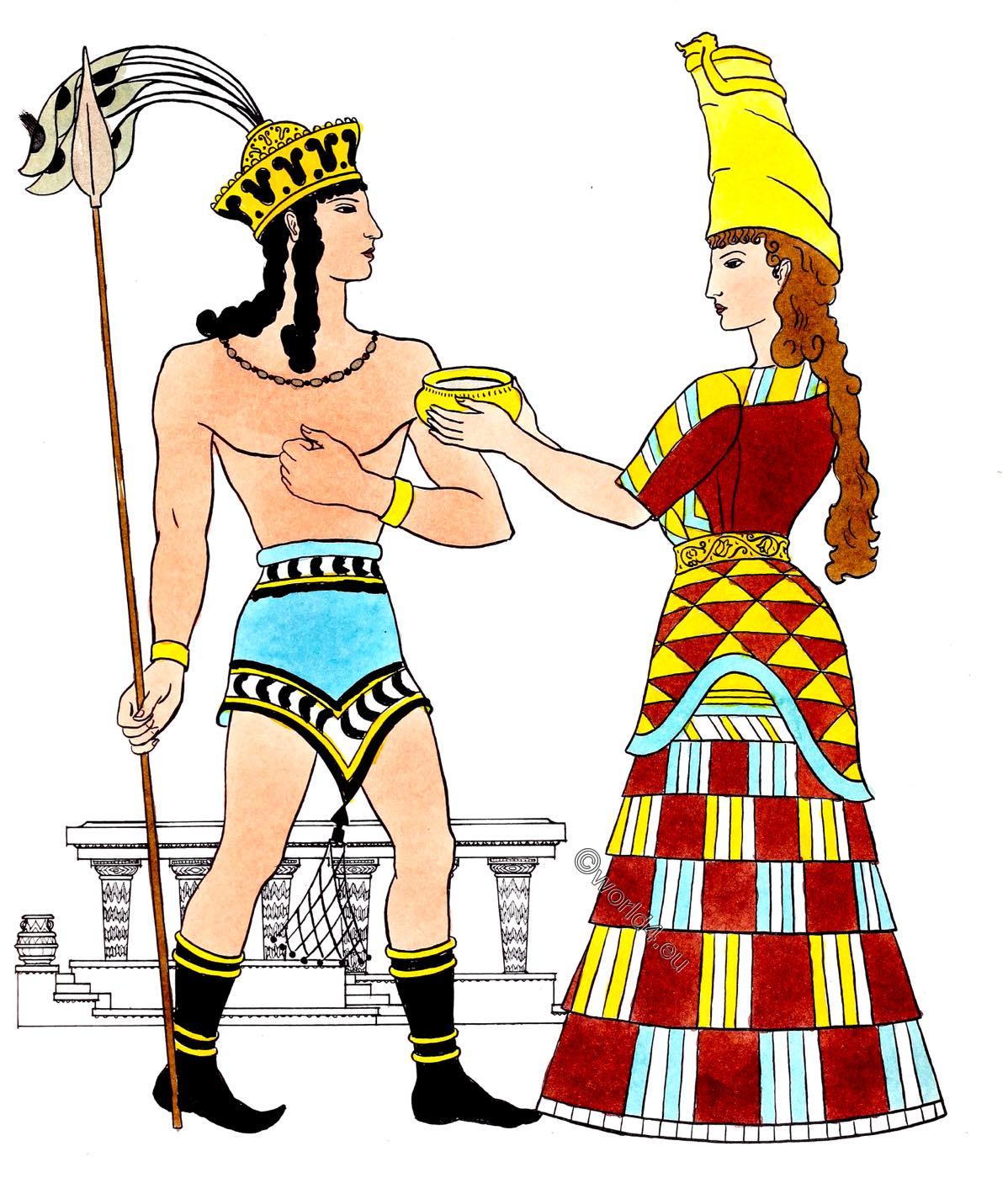 ancient, Cretan, costume, Mycenaean, Minoan, fashion, history
