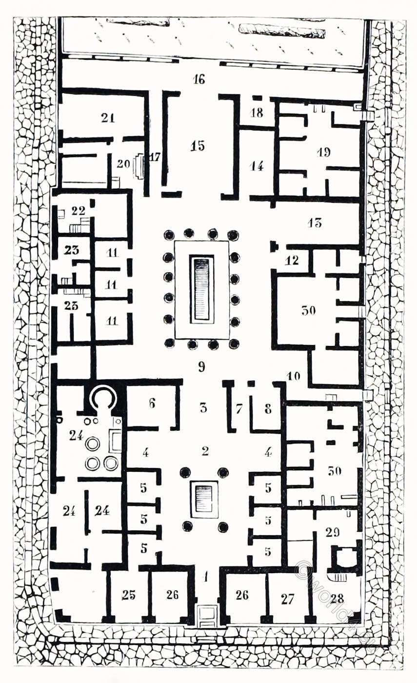 Pompeji, floor plan, Roman, architecture, Pompeian, House, Auguste Racinet