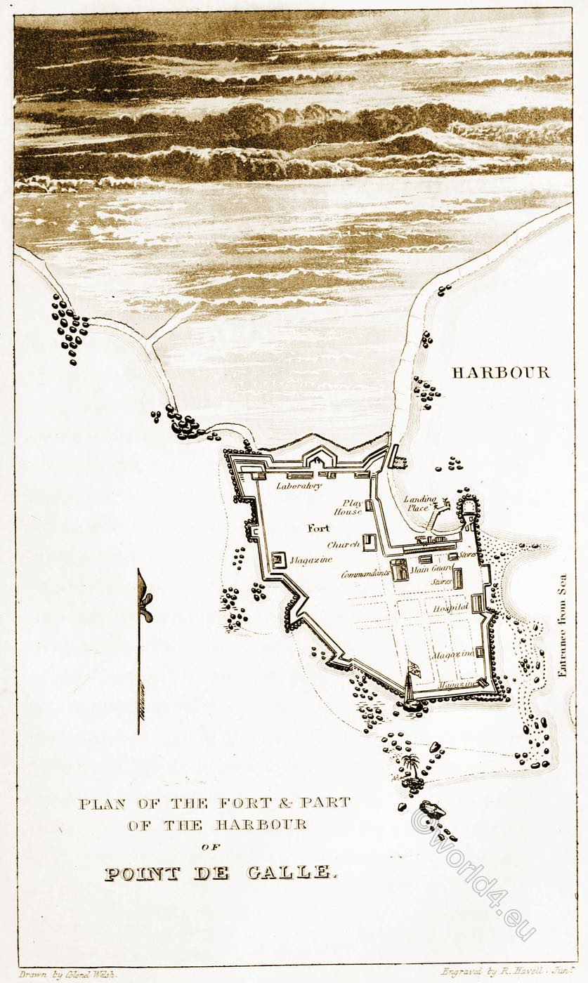 Harbor, Fort, Galle, Sri Lanka, Map,