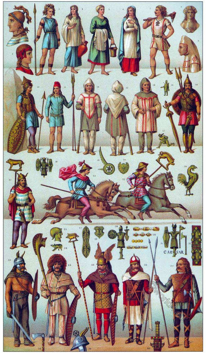 Gaul, Gauls, celtic, warrior, inhabitants, ancient, costume, habit, clothing, armor, weapons,