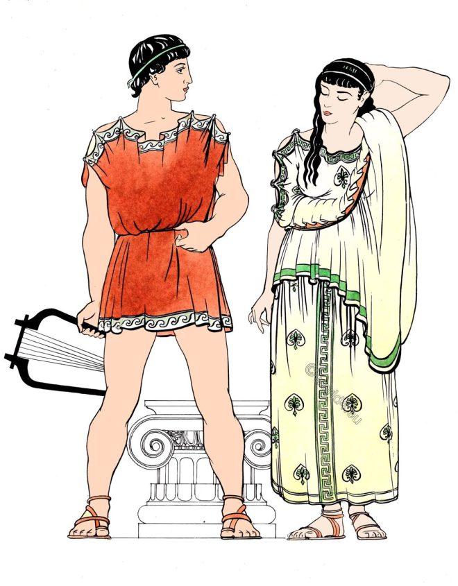 Greek, Ionic, costumes, ancient, Greece, dress,